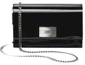Ralph Lauren Engine-Turned Patent Wallet Black One Size