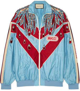 Gucci Paneled Embellished Shell Track Jacket - Blue