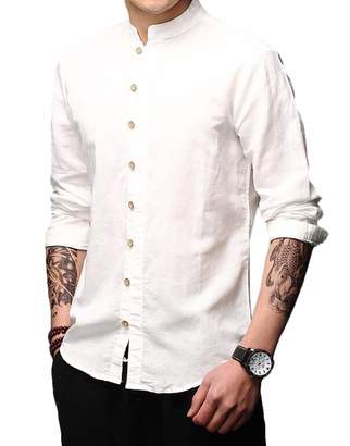 995c7bdd32 Nanquan Men Long Sleeve Solid Color Chinese Style Mandarin Collar Button  Front Shirt US M