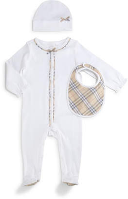 Burberry Jacey 3-Piece Footie Pajama Set, White, Size 1-24 Months