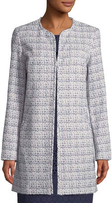 Karl Lagerfeld Paris Crewneck Open-Front Duster Jacket