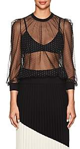 Givenchy Women's Studded Sheer Tulle Blouse - Black