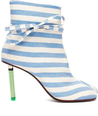 Vetements Geisha striped canvas lighter-heel ankle boots