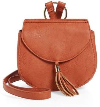 Emperia Tassel Faux Leather Crossbody Saddle Bag