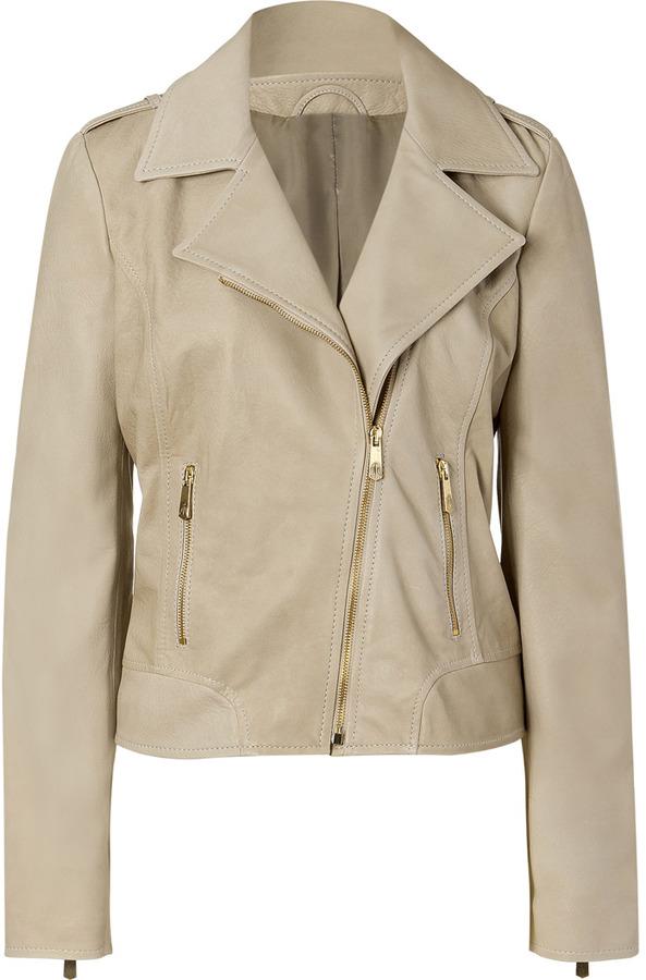 Faith Connexion Taupe Leather Jacket