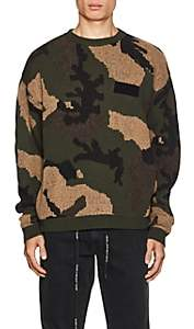 Off-White Men's Camouflage Cotton-Wool Jacquard Sweater - Beige, Tan