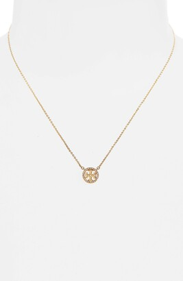 Tory Burch Pave Logo Pendant Necklace