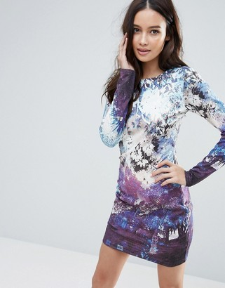 Talulah Morning Dew Printed Long Sleeved Bodycon Dress $87 thestylecure.com