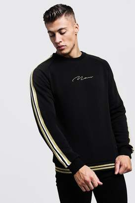 boohoo Gold MAN Signature Tape Sweater