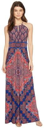 London Times Persian Medallion Heyhole Halter Dress Women's Dress