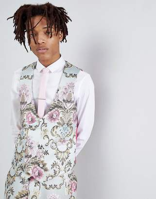 Asos Edition EDITION wedding skinny suit vest in pastel floral jacquard