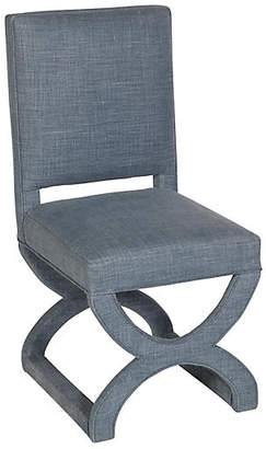 One Kings Lane Lola Side Chair - Midnight Blue Linen