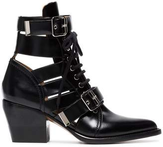 Chloé black Rylee 60 leather buckle ankle boots