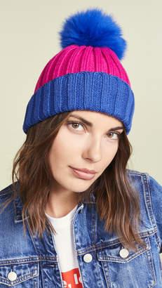 Adrienne Landau Ribbed Two Tone Hat with Fur Pom