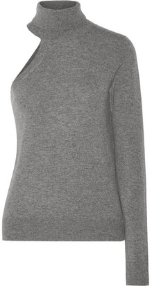 Michael Kors One-shoulder Cashmere Turtleneck Sweater - Gray