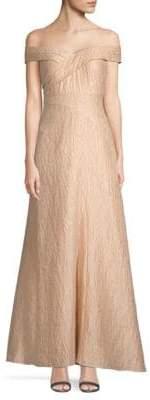 Aidan Mattox Off-The-Shoulder Jacquard Long Dress