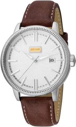 Just Cavalli Men's Watches Men's Silver-Tone Dial Date Watch, 42mm