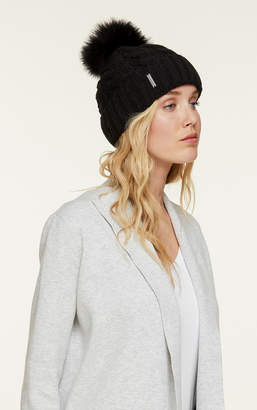 Soia & Kyo AMALIE-T knit hat with removable fur pom pom