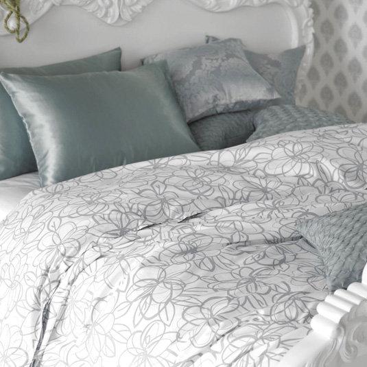 Abstract Floral Print Duvet - Mist