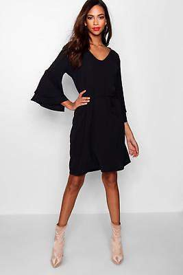 boohoo NEW Womens Tall Lacey Flute Sleeve Tie Waist Dress in Polyester