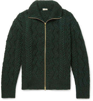 Camoshita Cable-Knit Wool Zip-Up Cardigan