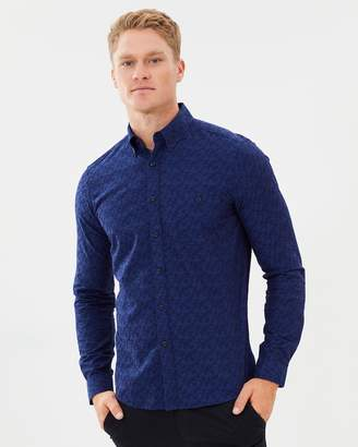 Brooksfield Floral Weave Casual Shirt