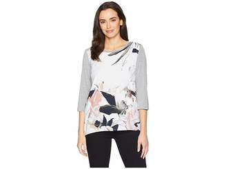 Tribal 3/4 Sleeve Top with Woven Front