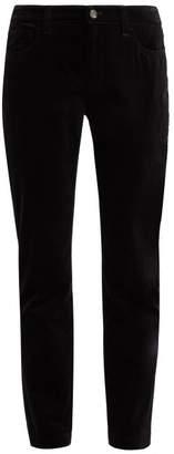 Dolce & Gabbana Mid Rise Velvet Trousers - Womens - Black