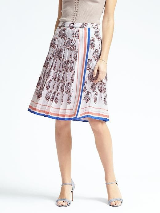 Banana Republic Paisley Pleat-Trim Skirt