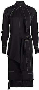 Proenza Schouler Women's Belted Long-Sleeve Gabardine Shirtdress