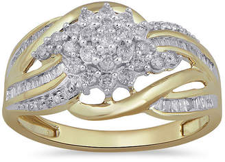 FINE JEWELRY Womens 1/2 CT. T.W. Genuine White Diamond 10K Gold Cluster Cocktail Ring