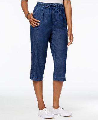 Karen Scott Denim Drawstring Capri Pants, Only at Macy's $39.50 thestylecure.com