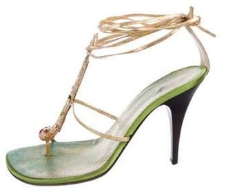 Giuseppe Zanotti Embellished Wrap-Around Sandals Gold Embellished Wrap-Around Sandals