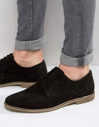 Red Tape Derby Shoes In Black Suede