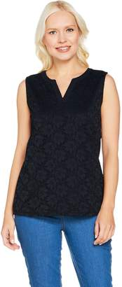Denim & Co. Sleeveless Split V-Neck Knit Lace Tank Top