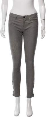 J Brand Mid-Rise Distressed Leather Pants