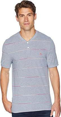 Original Penguin Men's Short Sleeve Space Dye Stripe Henley