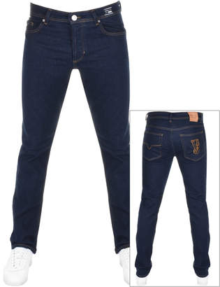 Versace Straight Fit Tiger Jeans Blue