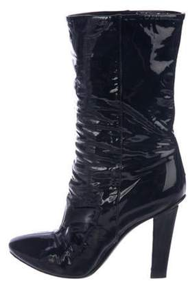 Jimmy Choo Patent Leather Ankle Boots Navy Patent Leather Ankle Boots