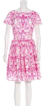 Oscar de la Renta Printed Flare Dress w/ Tags White Printed Flare Dress w/ Tags