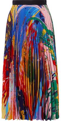 Mary Katrantzou Printed Plissé-chiffon Midi Skirt