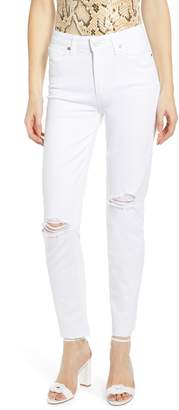 Paige Hoxton High Waist Ripped Raw Hem Ankle Skinny Jeans