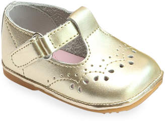 L'amour Shoes Birdie Metallic Leather T-Strap Brogue Mary Jane, Baby