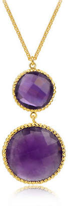 PIARA African Amethyst Double Drop Pendant Necklace