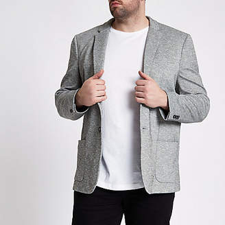 River Island Big and Tall light grey space dye blazer