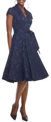 Gal Meets Glam Gloria Paisley Jacquard Fit & Flare Dress