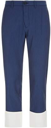 Loewe Cropped Striped Cotton Chinos