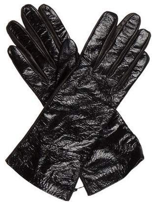 Saint Laurent Patent Leather & Suede Gloves w/ Tags