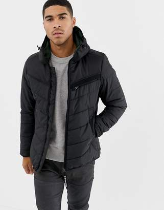 G Star G-Star Attac quilted jacket with hood in black