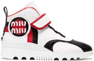 Miu Miu White logo leather high top sneakers